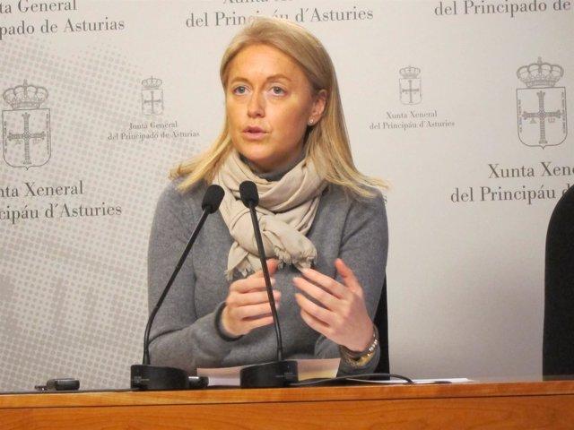 Cristina Coto en rueda de prensa en la Junta General.
