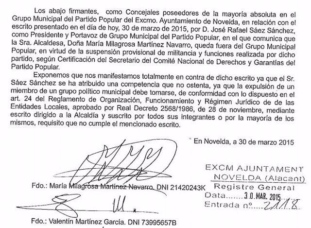 Documento en el que se rechaza la expulsión de Milagrosa Martínez