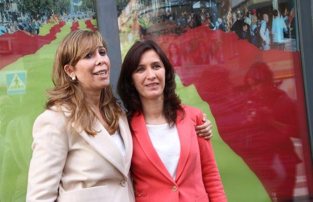 Alicia Sánchez-Camacho y la cabeza de lista del PP en L'Hospitalet S.Esplugas