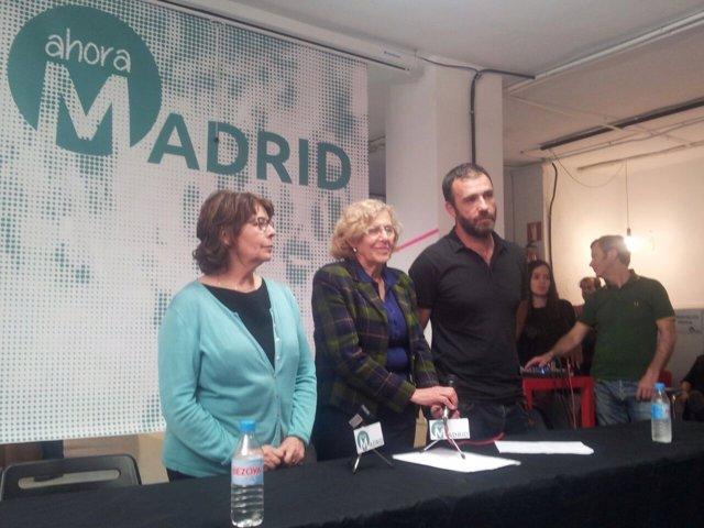 Manuela Carmena con Nacho Murgui e Inés Sabanés