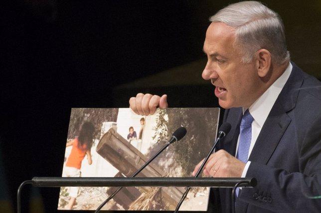 El primer ministro de Israel, Benjamin Netanyahu, habla ante la ONU