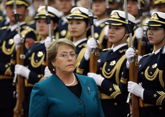 Michelle Bachelet, presidenta de Chile, durante una visita a China