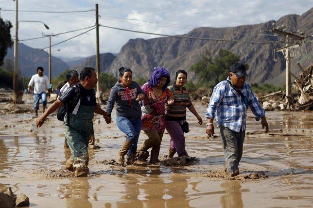 Calle inundada en Copiapo, en Chile