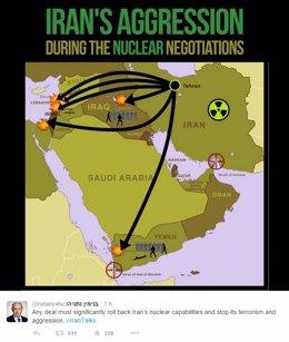 Mapa de las agresiones iraníes según el primer ministro Benjamin Netanyahu