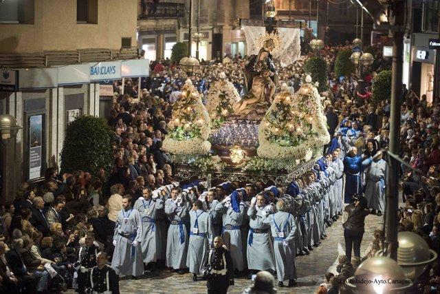 Porcesión del Lunes Santo en Cartagena