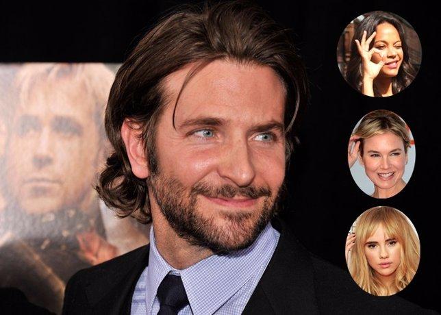 Actor Bradley Cooper  y sus exs zoe saldana renee zellweger y zoe saldana