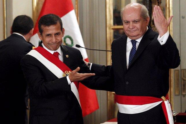 El presidente de Perú, Ollanta Hulama, y el primer ministro, Pedro Cateriano
