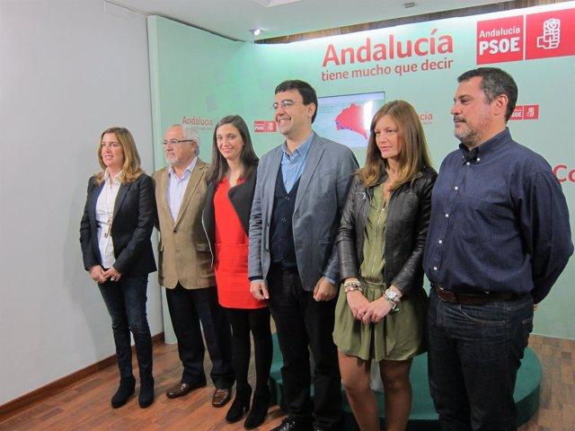 Los seis parlamentarios del PSOE de Huelva.
