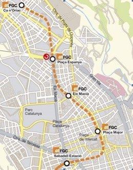 Mapa de la prolongación de la línea de FGC en Sabadell