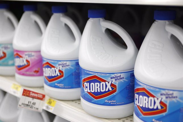 Bottles of Clorox bleach are displayed for sale on the shelves of a Wal-Mart sto