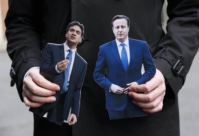 El líder conservador, David Cameron, y el laborista, Ed Miliband