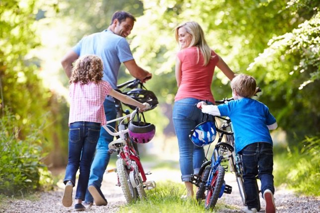 Familia, bicicleta, actividad, ejercicio