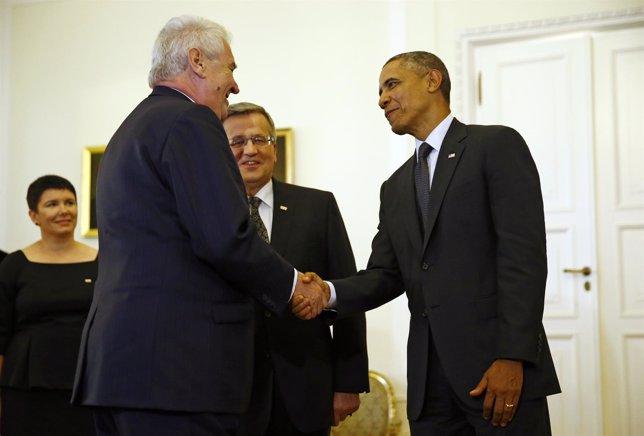 Milos Zeman, Barack Obama y Bronislaw Komorowsk