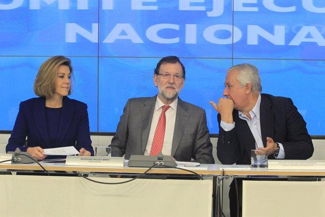 Cospedal, Rajoy y Arenas tras el Comité Ejecutivo del PP