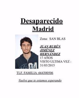 Cartel de búsqueda del desaparecido Juan Rubén Jiménez