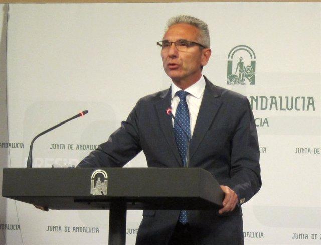 El portavoz de la Junta en funciones, Miguel Ánguel Vázquez, hoy en San Telmo.