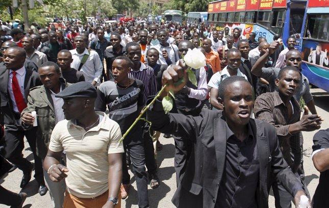 Manifestación de estudiantes en Kenia