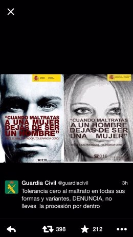 Tuit de la Guardia Civil contra la violencia de género