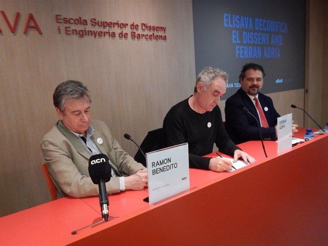 El director general de Elisava, R.Benedito; el chef Ferran Adrià, y J.Cortada