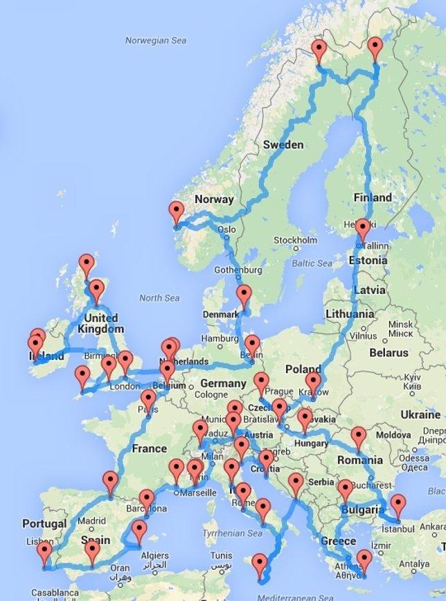 Viaja por Europa en coche con Google Maps