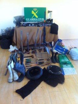 Efectos intervenidos por el Seprona en la Operación Vipe contra el furtivismo