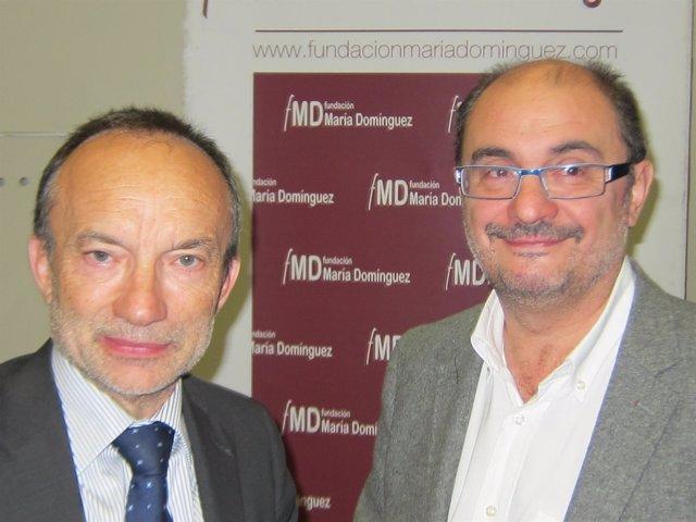 El secretario general del PSOE-Aragón, Javier Lambán, y Ramón Tejedor