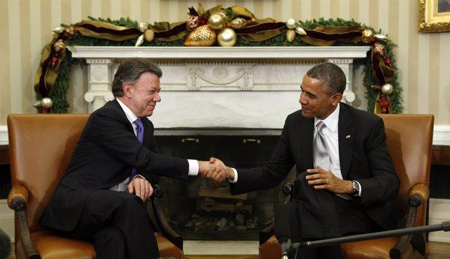 El presidente de Colombia, Juan Manuel Santos, y el de EEUU, Barack Obama.