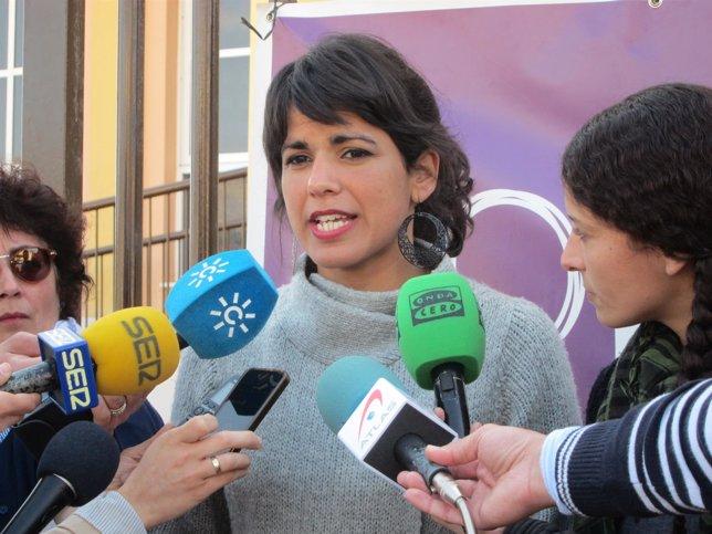 La candidata de Podemos a la presidencia de la Junta, Teresa Rodríguez