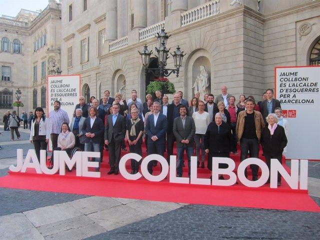 El alcaldable del PSC en Barcelona Jaume Collboni en un acto de precampaña