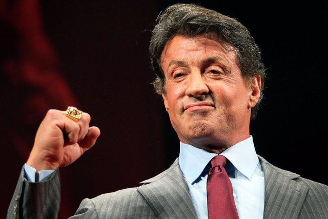 """Sylvester Stallone durante la promoción de """"Los mercenarios"""""""