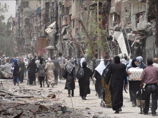 Desplazados en Yarmuk, en Damasco,