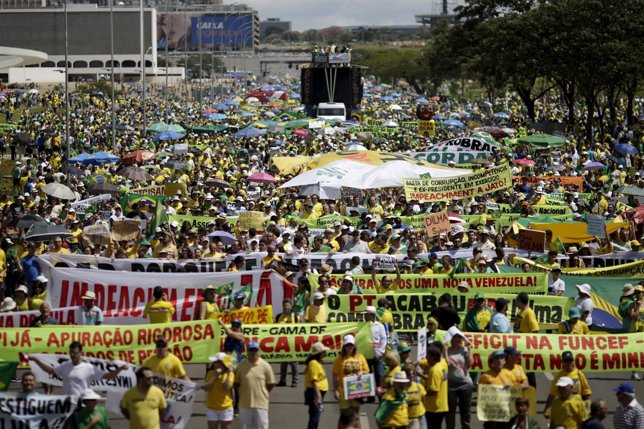 Demonstrators take part in a protest against President Dilma Rousseff in Brasili