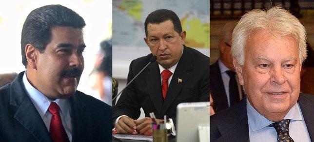 Maduro, Chávez y Felipe González
