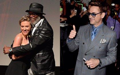 Robert Downey Jr. y Scarlett Johansson brillan en la premiere de Vengadores: La era de Ultrón
