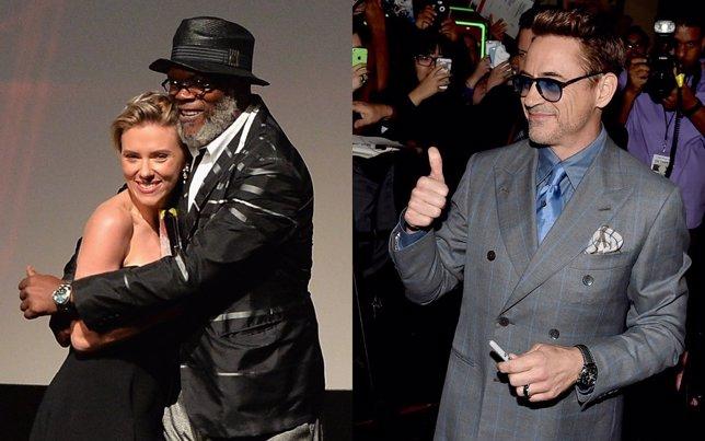 Scarlett Johansson, Samuel L Jackson y Robert Downey Jr.