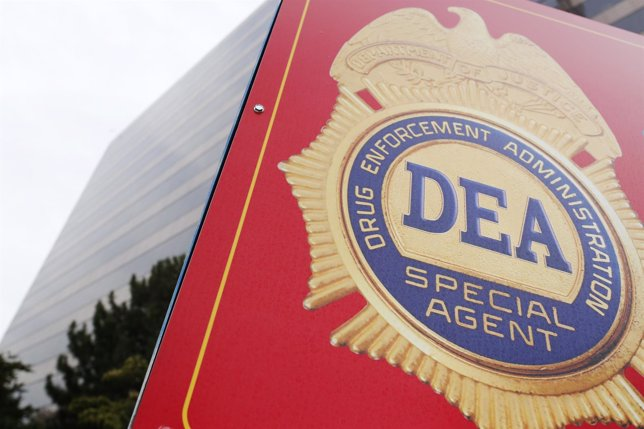 A sign with a DEA badge marks the entrance to the U.S. Drug Enforcement Administ