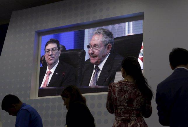 El presidente cubano, Raúl Castro, en la Cumbre de las Américas