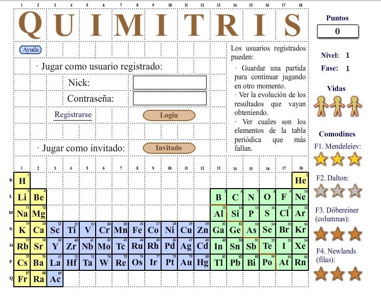 quimitris es un juego en el que mediante el tetris aprenders la tabla peridica de los elementos de forma entretenida el juego es sencillo las fichas
