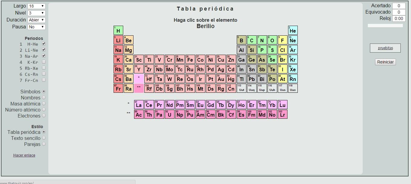 test sobre la tabla peridica eres capaz de situar el elemento berilio as son las preguntas que te har este divertido test que te retar a encontrar