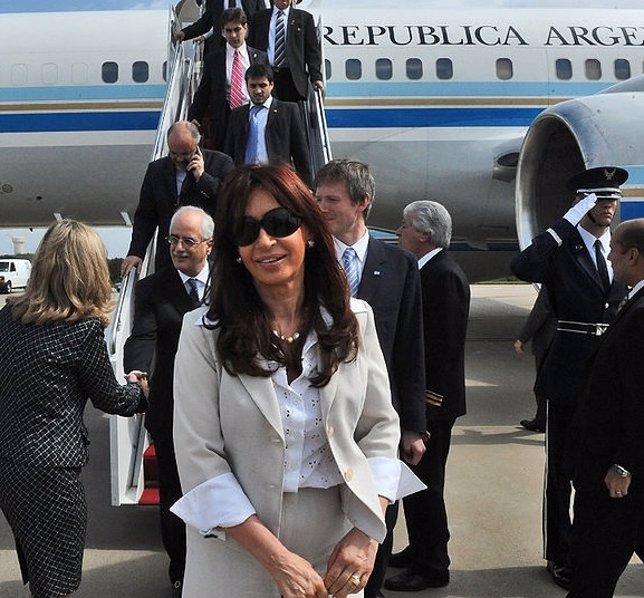 Cristina Fernández en el avión presidencial