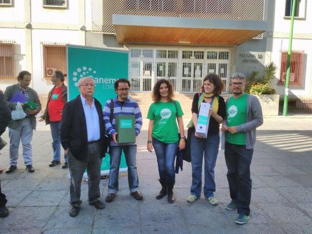 Miembros de la candidatura de Ganemos ante la Audiencia con los avales