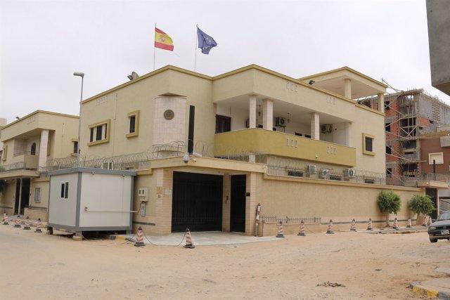 Fachada de la embajda española en Trípoli