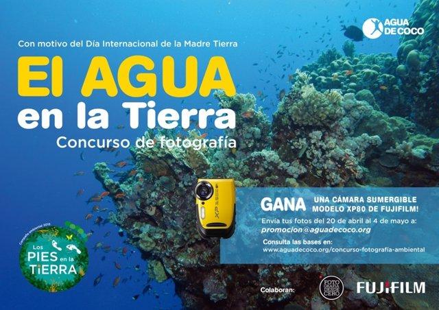 Cartel concurso de fotografía 'El agua en la Tierra' de Agua de Coco