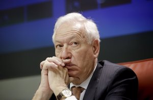 Spanish Foreign Minister Jose Manuel Garcia-Margallo answers a question during a