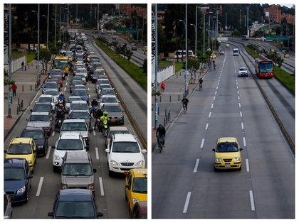 Segundo día sin coche y moto en Bogotá