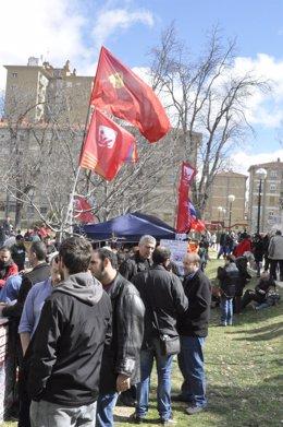 Imagen del stand de IU en la Cincomarzada de 2014.