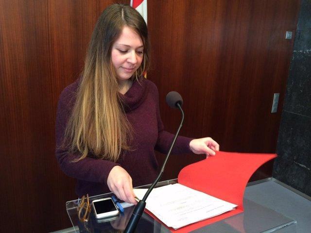La concejal de ICV-EUiA Janet Sanz