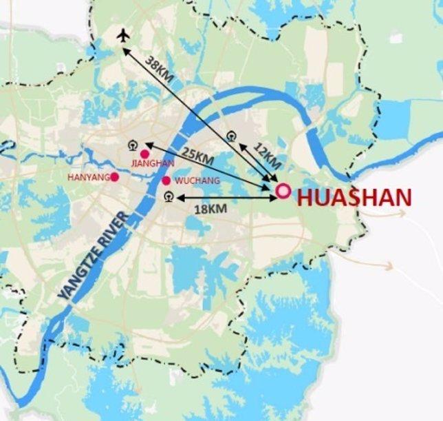Plano de localización de la ciudad de Huashan (China)