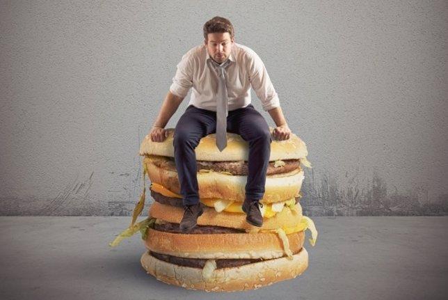 Dieta, hombre, comida, hamburguesas