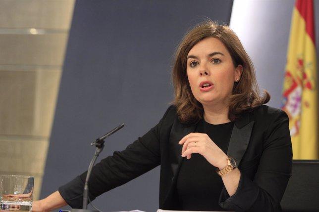 Soraya Saez de Santamaría tras el Consejo de Ministros